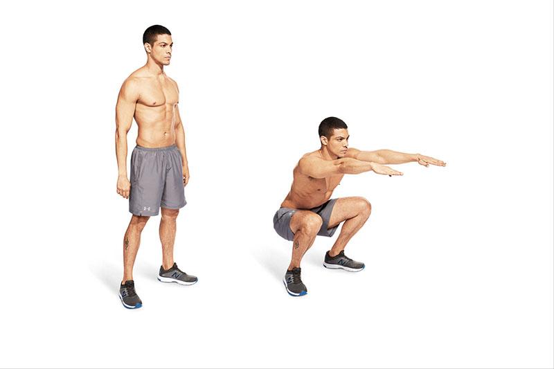 Tập Squat với tạ cũng là một cách giảm mỡ bụng cho nam hiệu quả